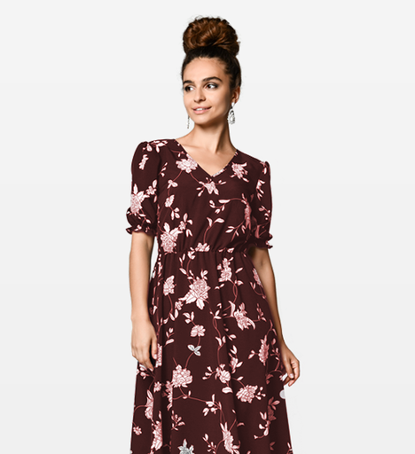 Dusty Floral Print Dress